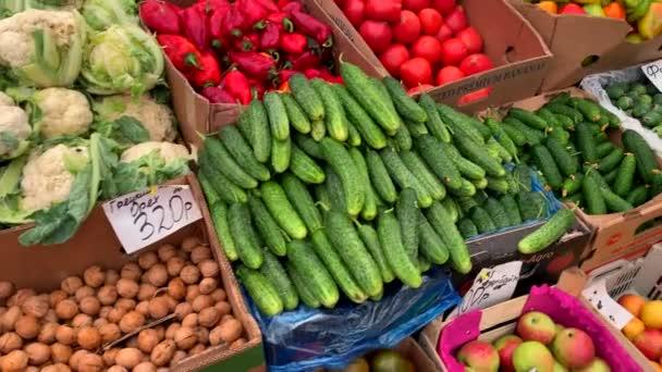 Různé přírodní ovoce a zelenina na pultu na trhu. Rajčata, zelí, okurky, papriky, švestky, jablka, granátová jablka, persimony.