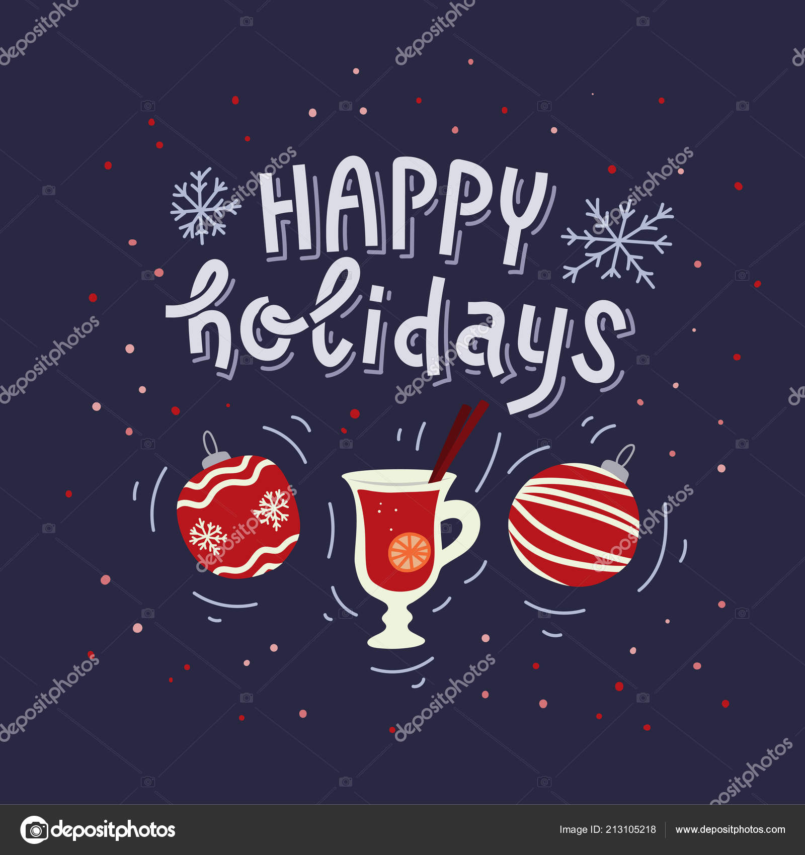 Happy Holidays Greeting Card Or Poster Design Hand Written
