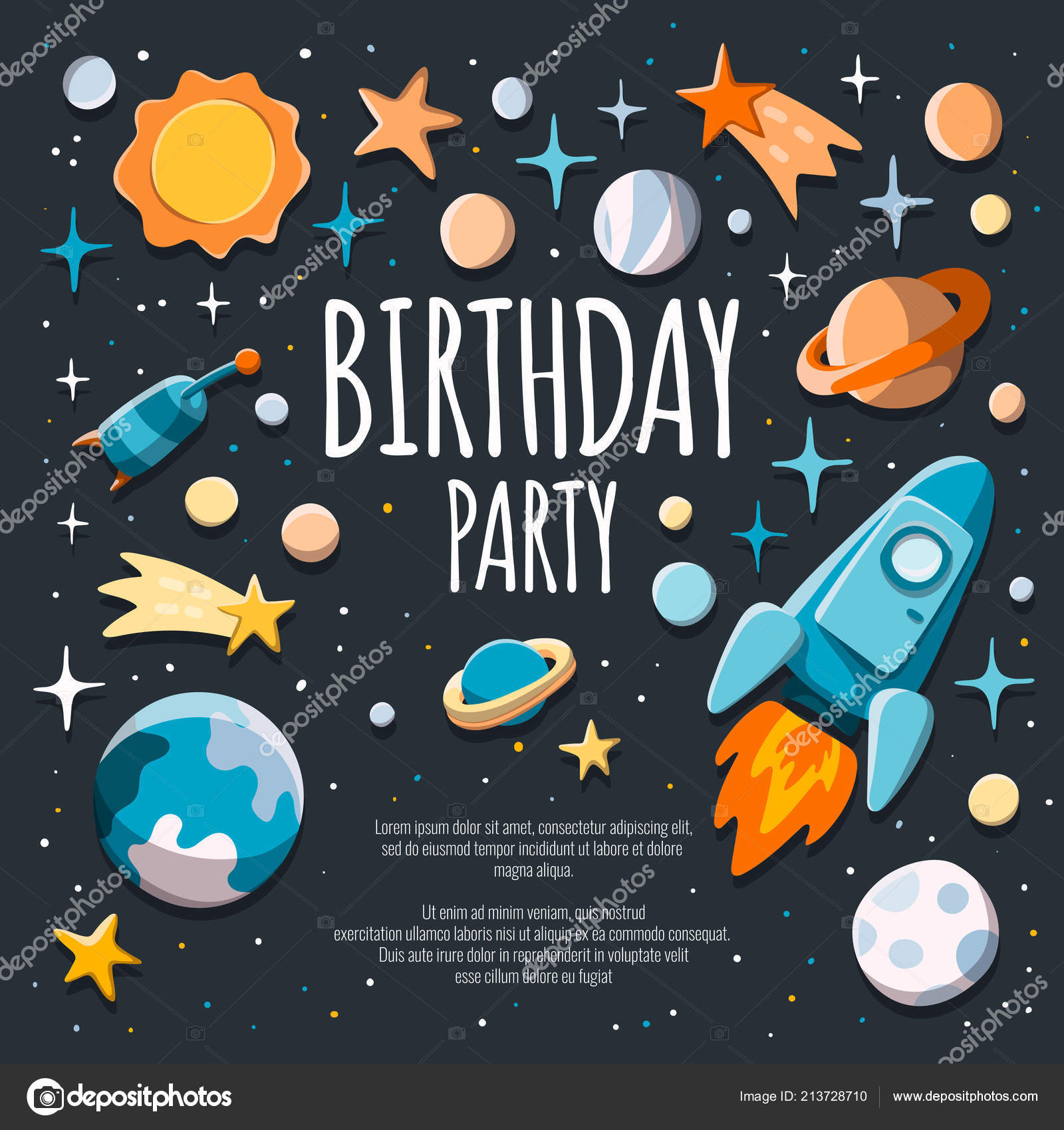 Birthday Party Invitation Flyer Poster Template Background With