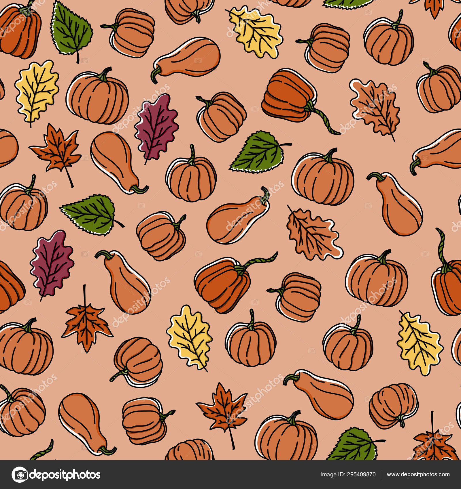 Thanksgiving Seamless Autumn Leaves And Pumpkin Pattern