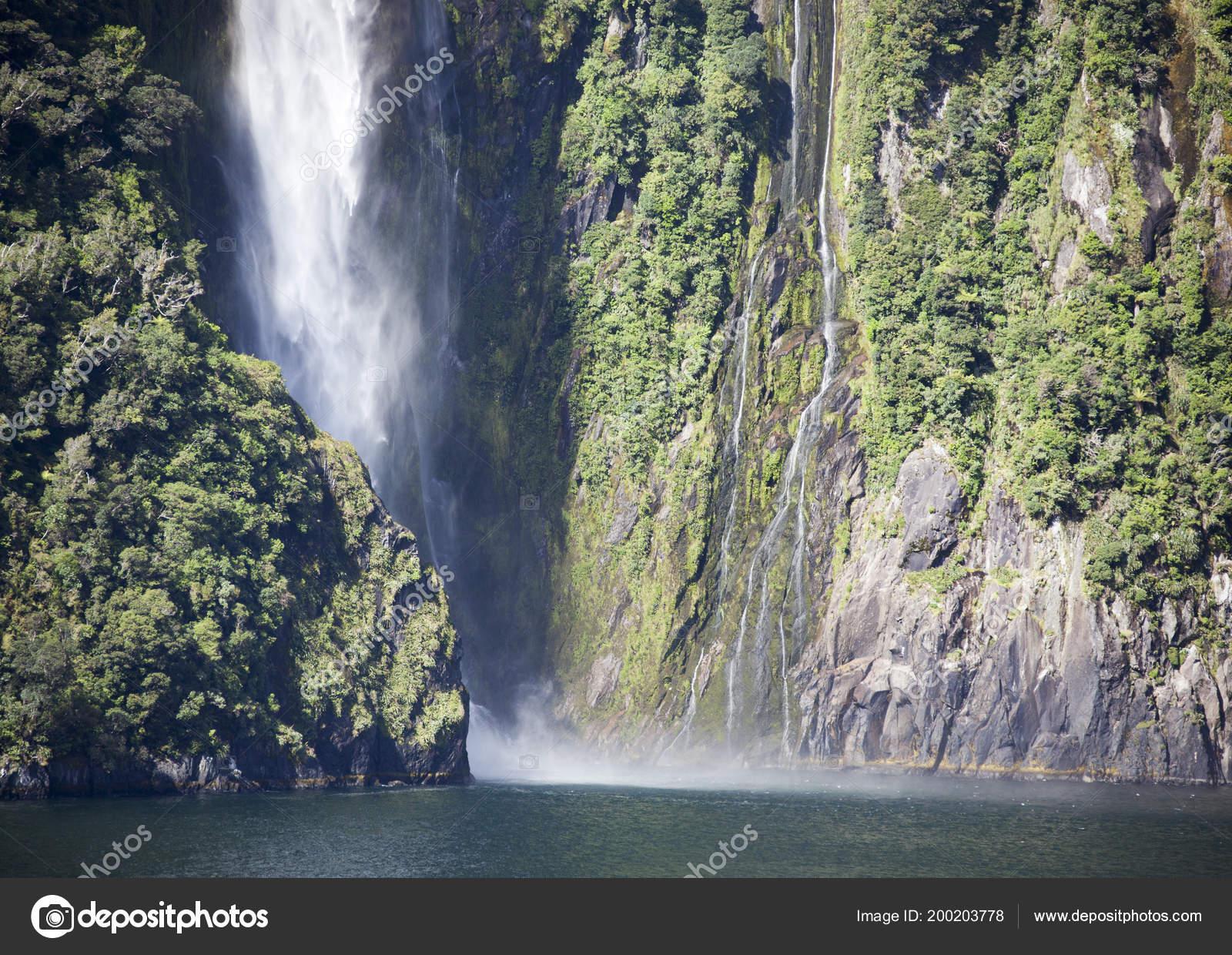 Waterfall Milford Sound Fiordland National Park New Zealand