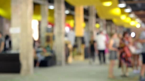 Blurred background white interior shopping center mall