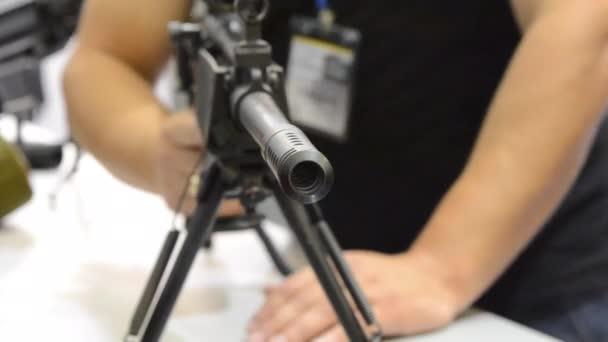 Firearms gun submachine sniper rifle close-up.