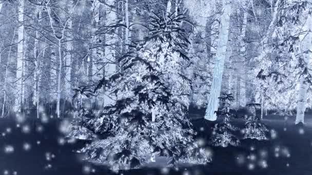 Waldbäume im Winter nachts im Schnee.