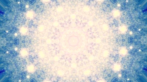 abstrakte Kaleidoskop-Bewegungshintergründe. Sequenz mehrfarbige Grafik Ornamente Muster. Blauweiß, weihnachtliche Spitzenmotive, Pailletten, fallender Schnee. nahtlose Schleife. Winterliche Lichtkulisse.