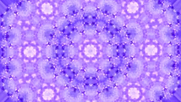 Abstraktní pozadí pohybu kaleidoskop. Pořadové vícebarevné grafické ornamenty vzorky. Fialová bílá, Vánoce Nový rok krajkové motivy flitry, padající sníh. Bezešvá smyčka. Zimní světlo pozadí.