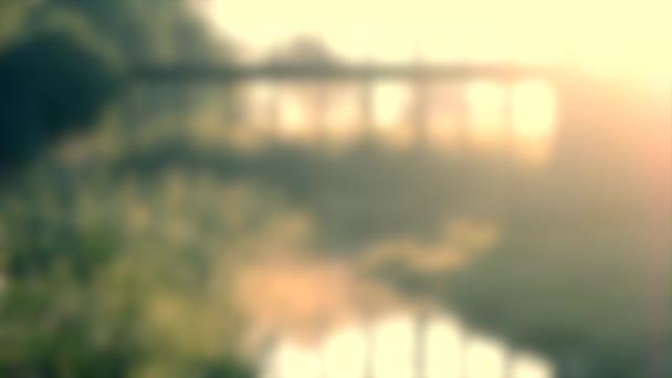 Unscharfer Hintergrund. Schöne Brücke und ein kleiner Teich am Ufer wachsen