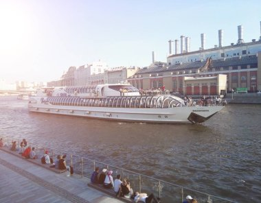 Moscow, Russia - May, 2018: Cruise ship sails on the Moscow river in Moscow city center.