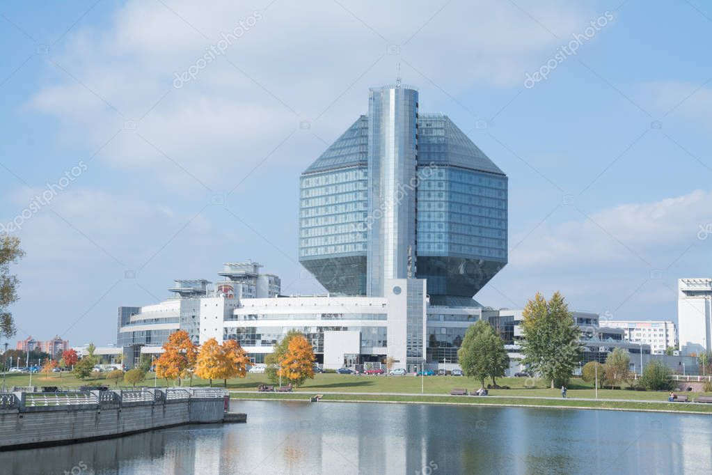 Minsk, Republic of Belarus - 11 October, 2018: The National Library of Belarus. Lake landscape.