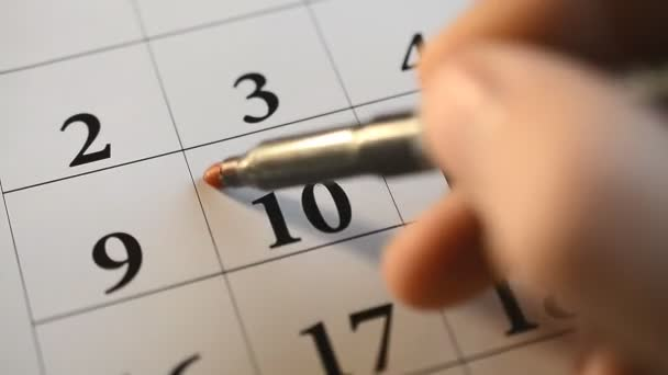 Červená značka podpisu den v kalendáři
