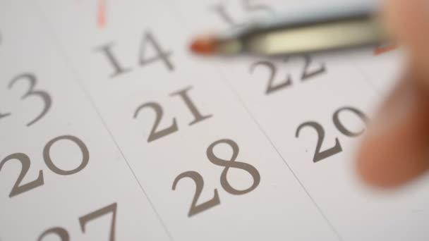 Podepsání pomocí červené pero, den díkůvzdání usa dvacet osmina den v kalendáři