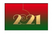 Happy 2021 new year card. Hanging gold number 2021 on red green background. Seasonal holidays flyers, greetings and invitations cards, christmas banners. New Year selebration. 3D illustration.