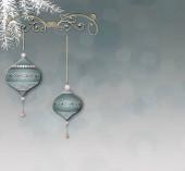 Luxusní elegantní vánoční novoroční ornament se zelenou zlatou cetkou na pastelovém pozadí s bokeh. Minimalistická novoroční pohlednice. Místo pro text, místo pro kopírování. 3D ilustrace.