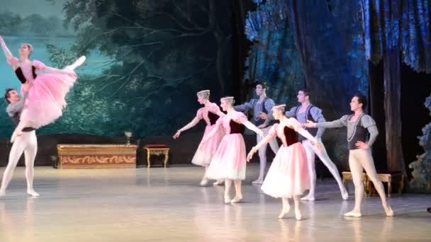 DONETSK, UKRAINE - 25. MÄRZ: Aufführung des Schwanensees am 25. März 2012 im nationalen akademischen Opern- und Balletttheater von A.B.Solovjanenko in Donetsk, Ukraine.