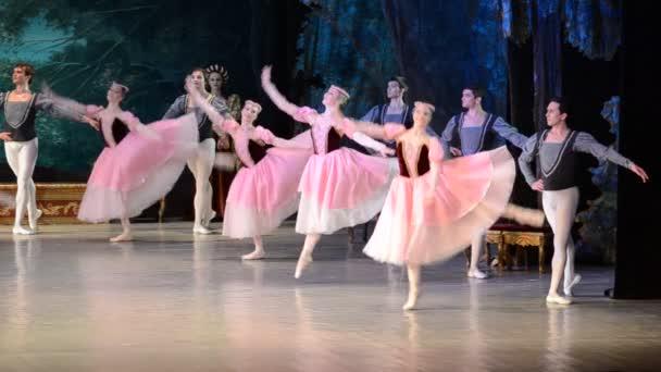DONETSK, UKRAINE - MÁRCIUS 25: A hattyútó előadása 2012. március 25-én az ukrajnai Donyeck Nemzeti Akadémiai Operában és Balettszínházban A.B.Solovjanenko Donyeckben.