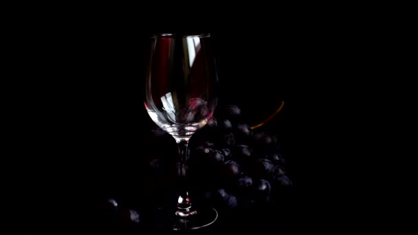 Pouring wine into a glass on a black background. Slow motion.