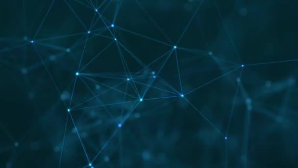 Abstrakte digitale Verbindung, die Punkte und Linien bewegt. Technischer Hintergrund. Netzwerkverbindungsstruktur. 3d. Nahtlose Schleife. 4K