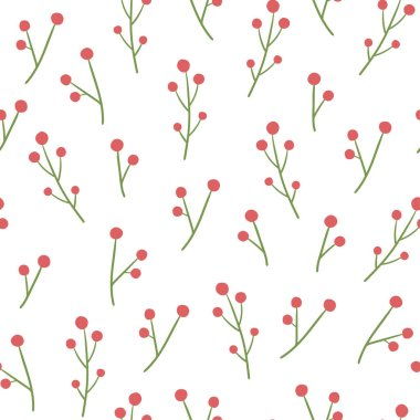 Winter floral seamless pattern with berries.Vector pattern for New year, Christmas. Flat simple style. For wrapping paper, textiles, and wallpaper.