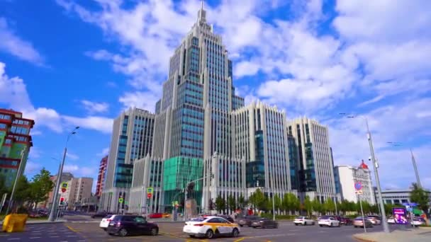 Moscow / Russia - 16 Aug 2020: Panoramic view of Moskovskaya street with a view of the high-rise business center Armory