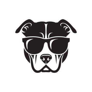American Pitbull Terrier dog wearing sunglasses - isolated vector illustration