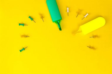 stationery and office supplies on a sheet of paper or other background