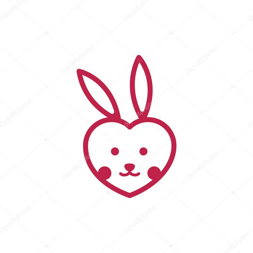 Cute Rabbit Bunny Hare Head Love Care Line Logo icon