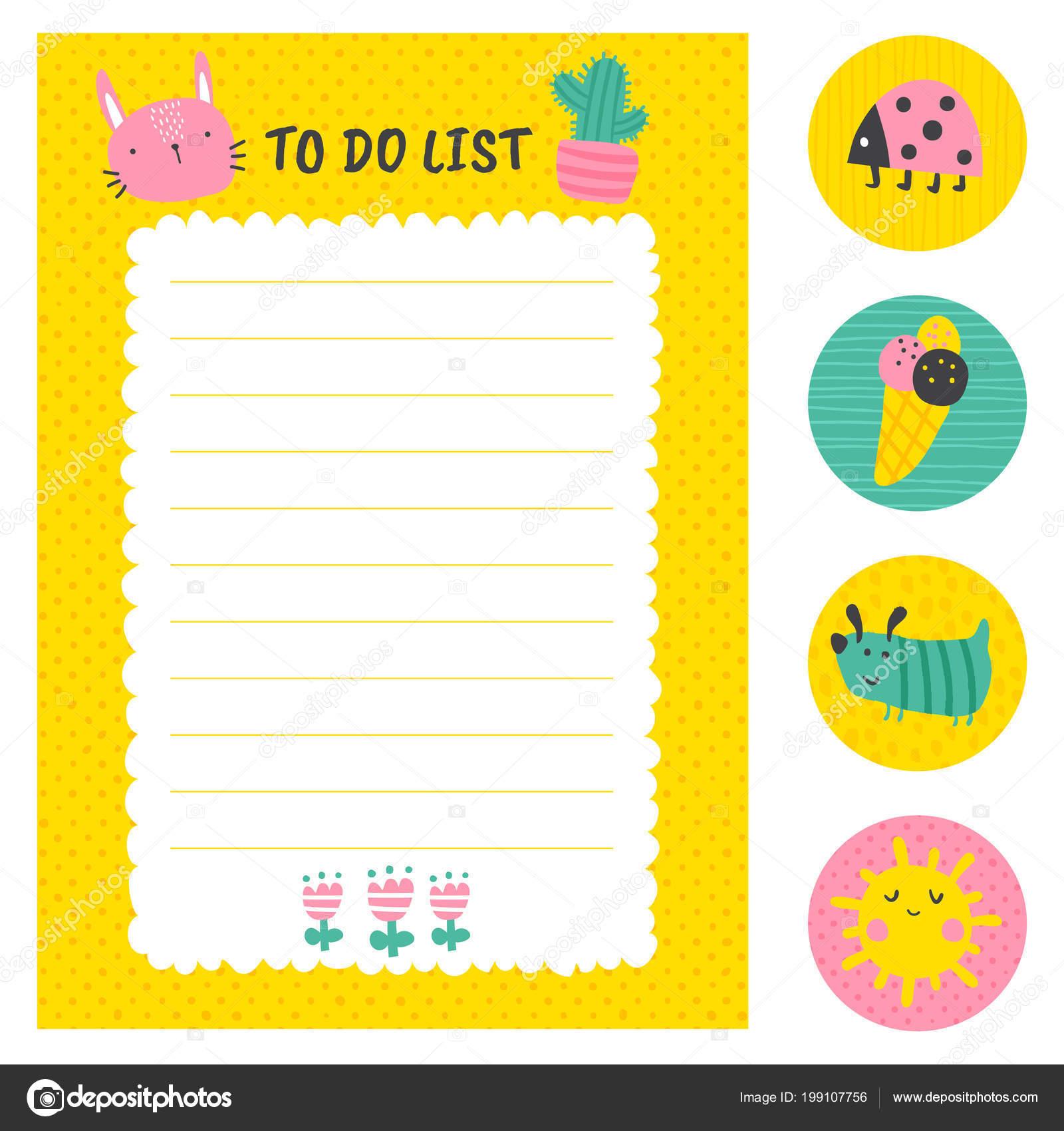 Vector Conjunto Lista Tareas Plantilla Stickers Ilustraciones Niños ...