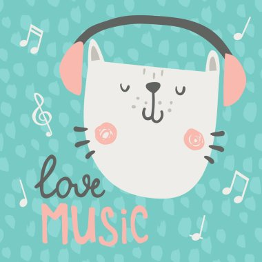 vector illustration, cute cat listening to music in headphones