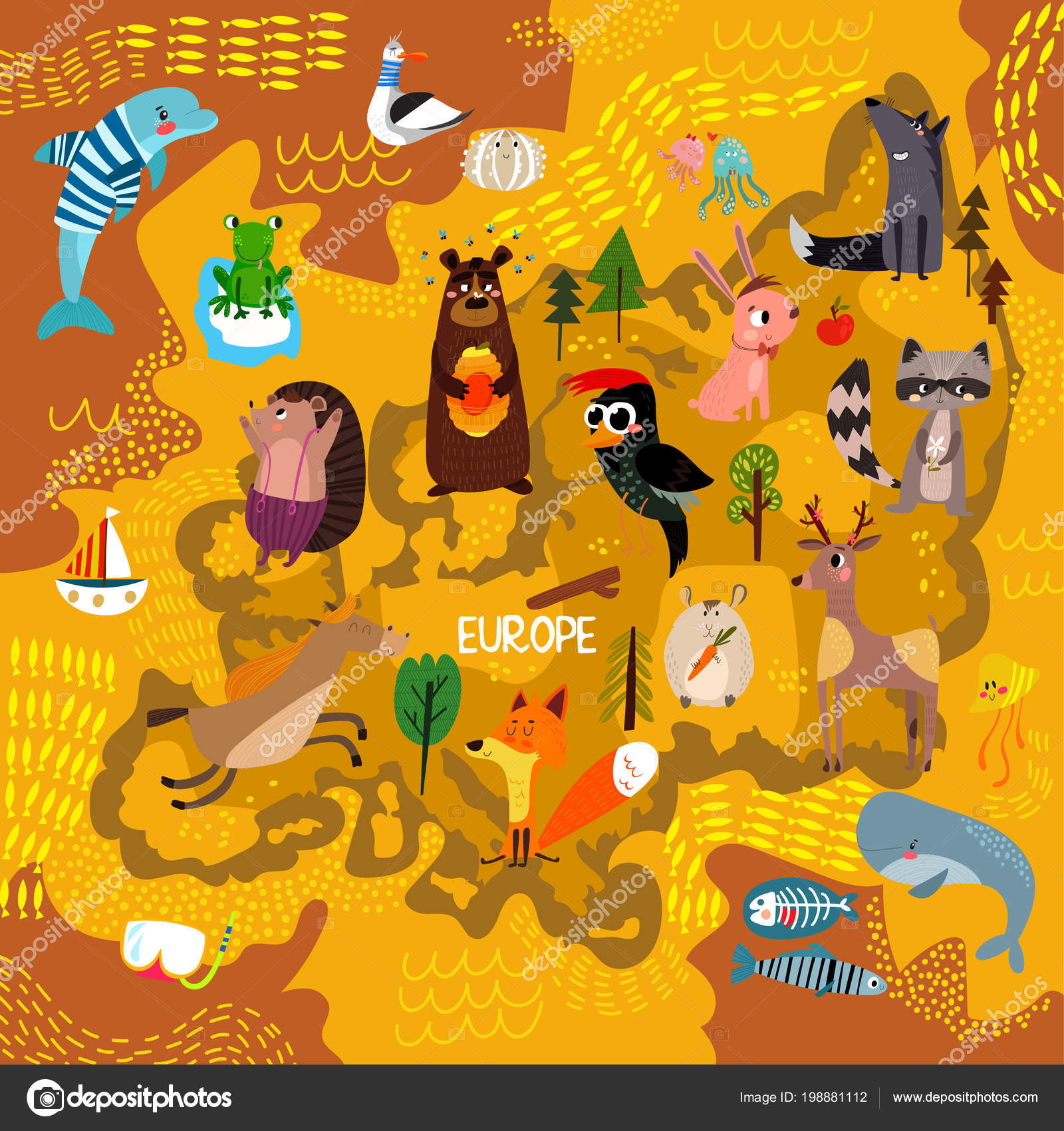 Cartoon World Map Traditional Animals Illustrated Map Europe Vector ...
