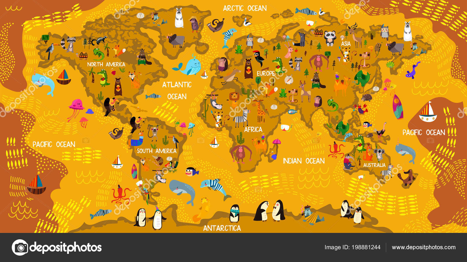 Cartoon Animal World Map Animals All World Oceans Continents Great on