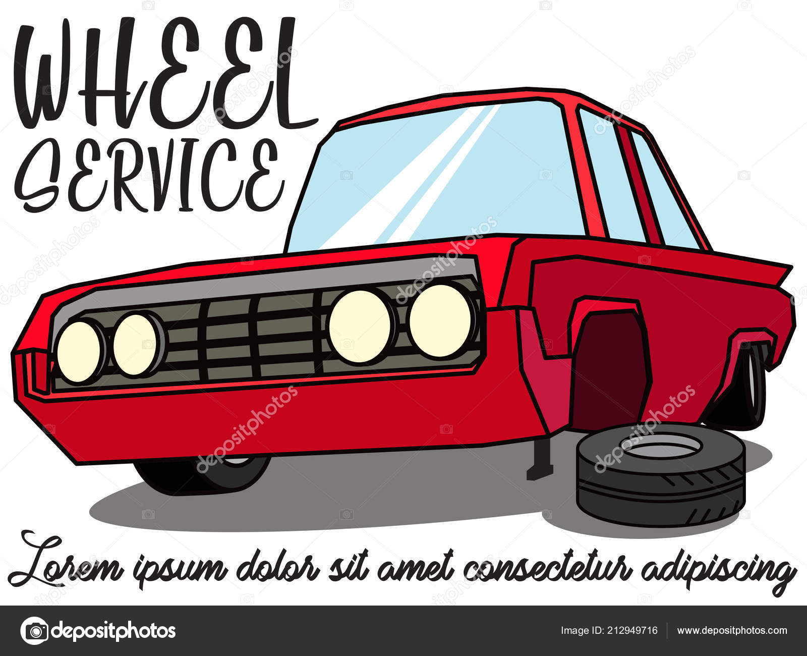 Tire Service Worker Changing Punctured Tire Car Flat Vector Design