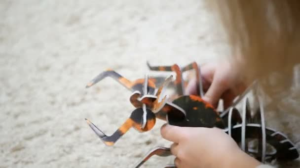 Girl plays with collect 3d ant. playing puzzles