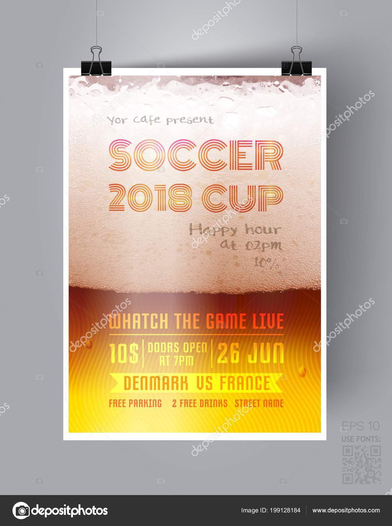 Soccer Cup 2018 Flyer Template On The Background Of A Beer Glass
