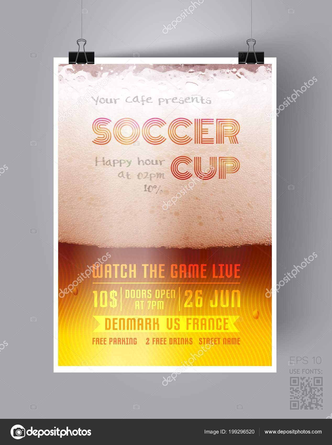 soccer cup flyer template on the background of a beer glass happy