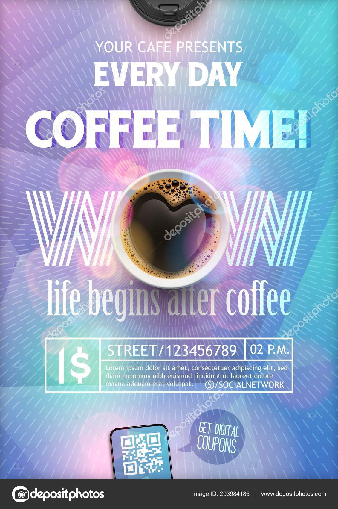 Coffee Time Flyer TemplateThe Layout On Colorful Background With