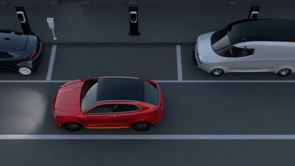 Autonomous SUV is parallel parking into parking lot at roadside. Intelligent Parking Assist System concept. 3D rendering animation.