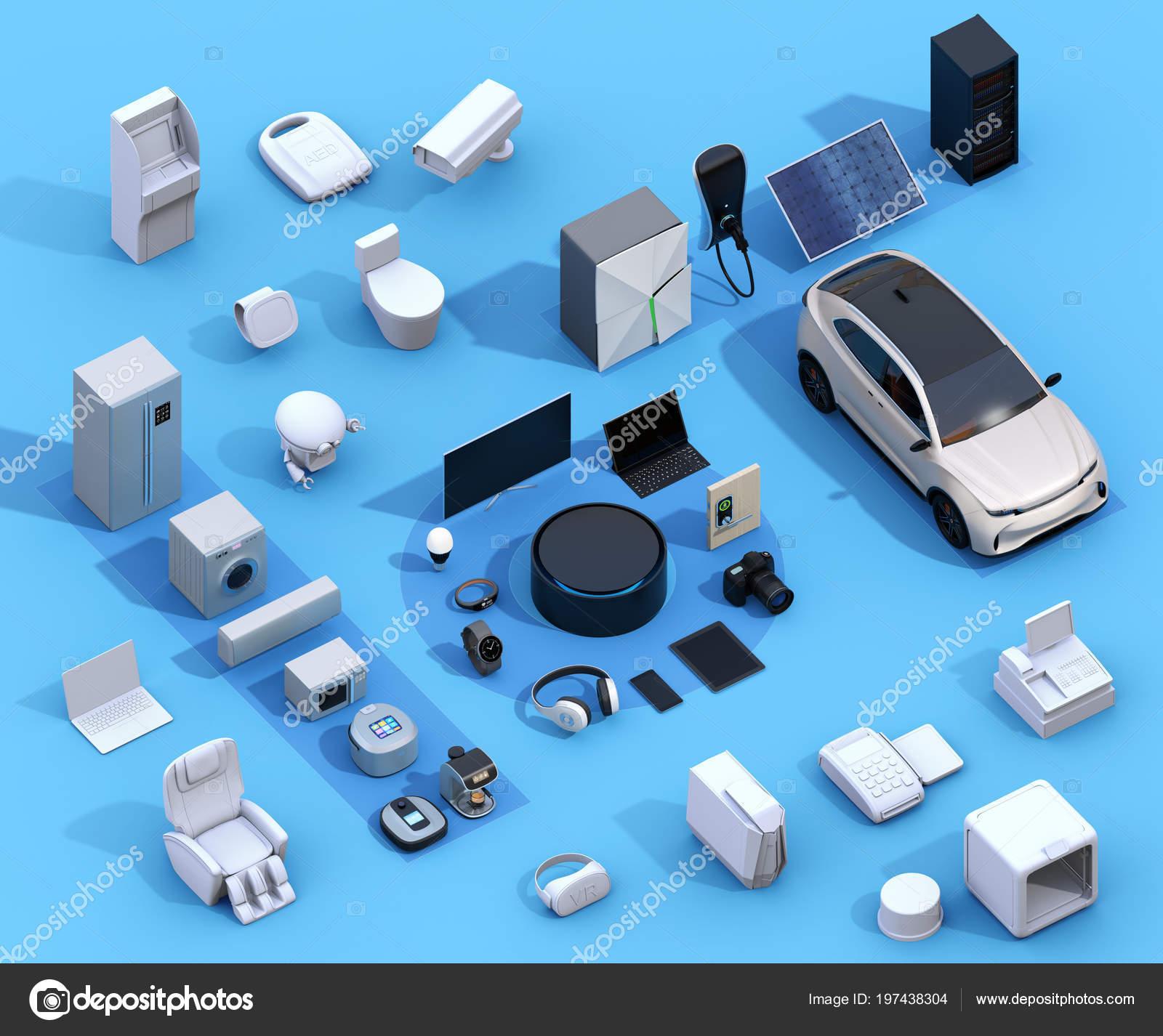 Intelligente Geräte Auf Blauem Hintergrund Internet Der Dinge Und ...