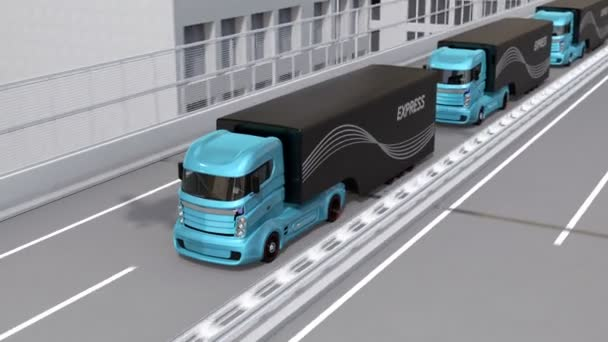 Autonomous electric trucks and VTOL drones platooning on highway  Concept  for fast delivery service  3D rendering animation
