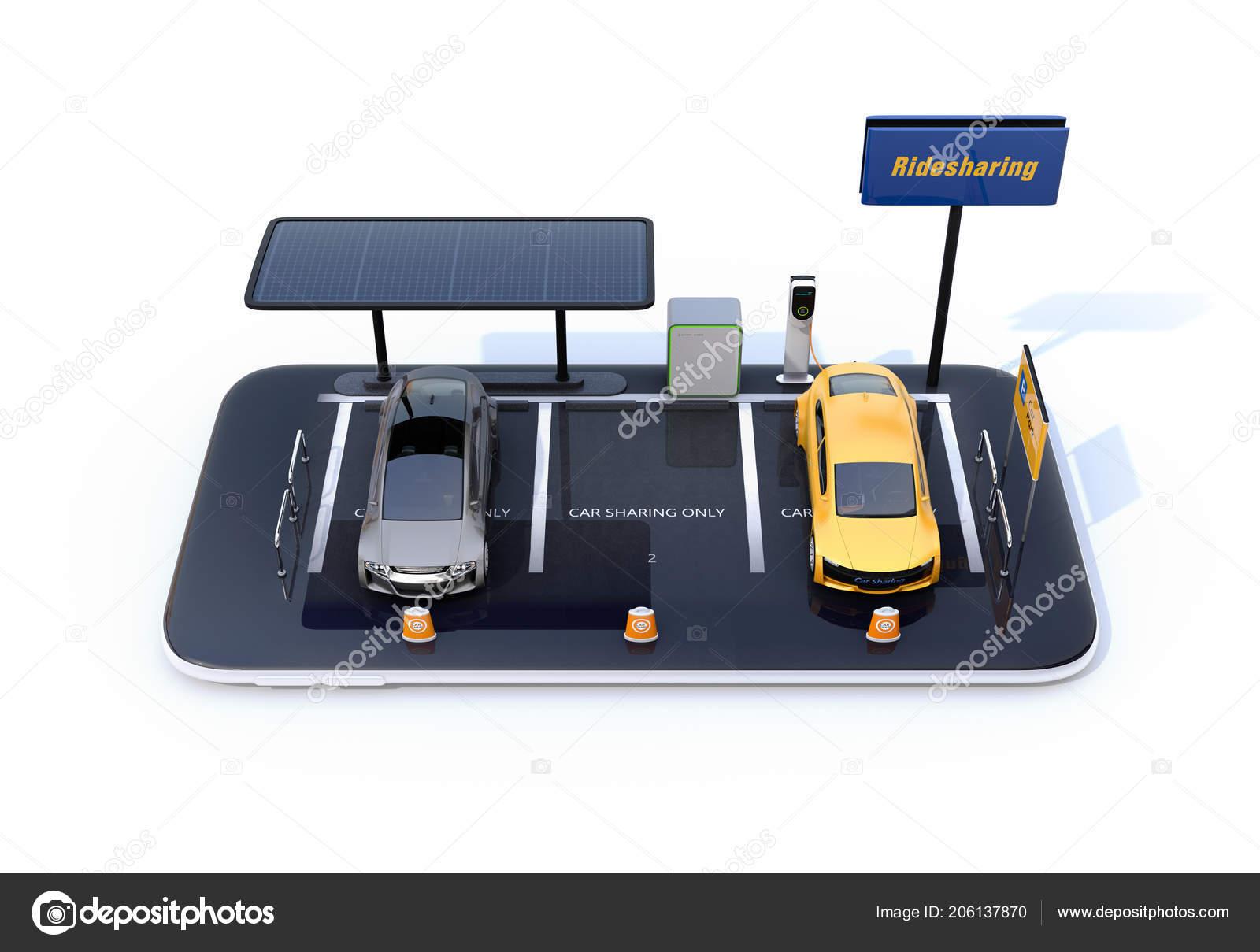 Elektrische Auto Opladen Station Zonnepanelen Autodelen Billboard