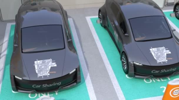 Kovové šedé elektrické auto v auto sdílení jen parkoviště. 3D vykreslování animace.