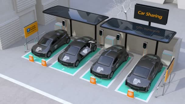 Electric car leaving car sharing parking lot. The parking lot equipped with solar panels, charging stations and batteries. 3D rendering animation.