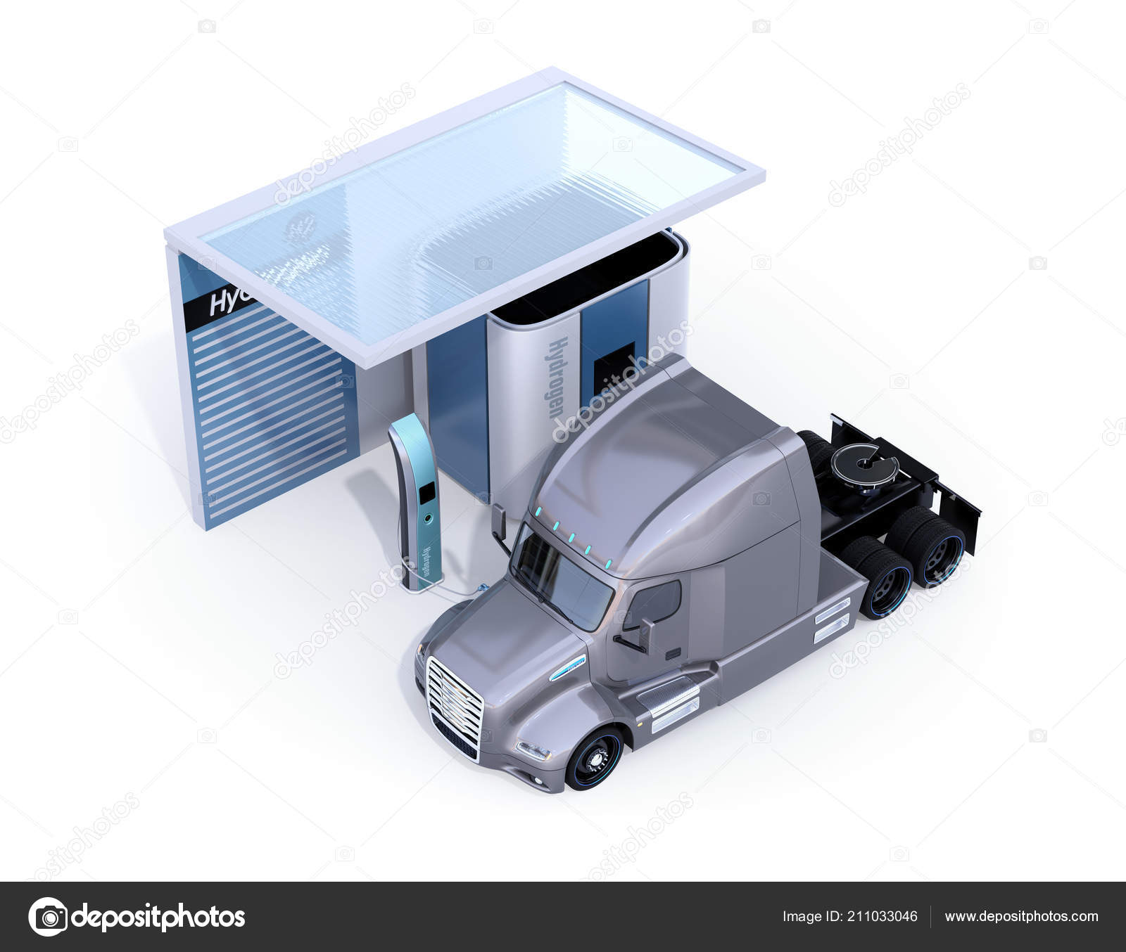 Fuel Cell Powered Truck Filling Hydrogen Gas Fuel Cell Hydrogen