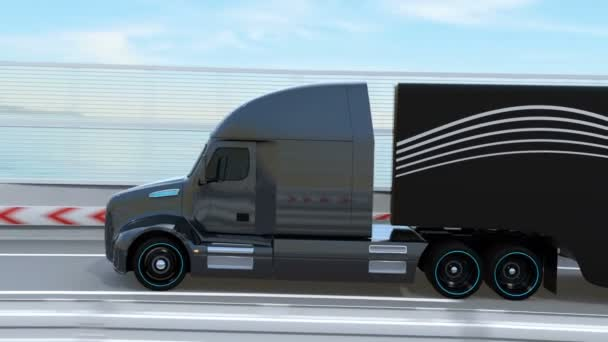 Black Fuel Cell Powered American Truck driving on highway. 3D rendering animation.