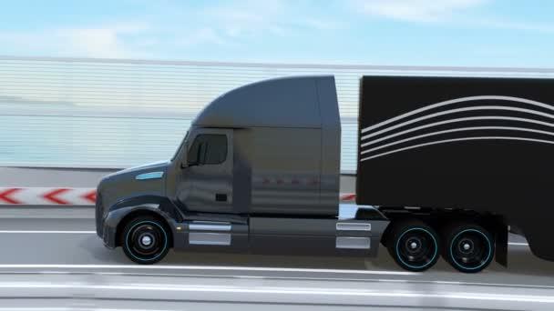 Černá palivový článek poháněl americký Truck jízdy na dálnici. 3D vykreslování animace.