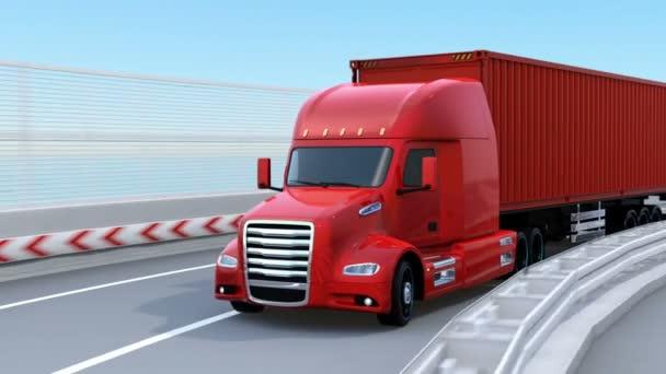 Kovové červené palivový článek poháněl americký Truck jízdy na dálnici. 3D vykreslování animace