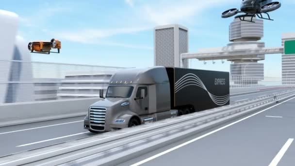Vozový park amerických, nákladní letouny a létající auto. Koncept logistiky a dopravy. 3D vykreslování animace