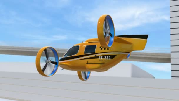 Žluté Taxi Drone cestující letící přes dálnici. Vozový park dodání dronů spolu s truck jízdy na dálnici. 3D vykreslování animace