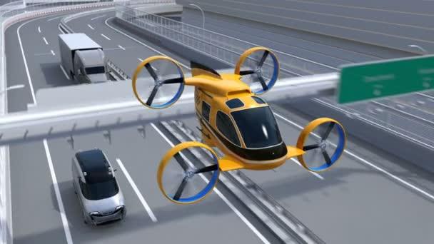 Žlutá Self-driving osobní Drone Taxi letí dálnice. Vozový park dodání dronů spolu s truck jízdy na dálnici. 3D vykreslování animace