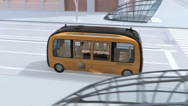 Self-driving shuttle bus driving through an intersection close to bus stop. People waiting at bus stop. 3D rendering animation.