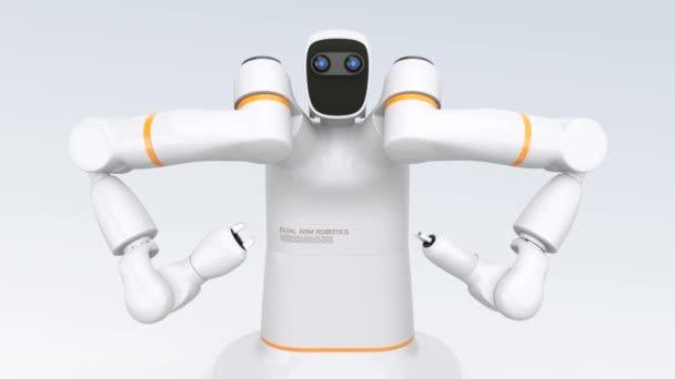 A kettős-kar robot gesztus demonstrációja. Együttműködésen alapuló robot koncepció. 3D-renderelés animáció.